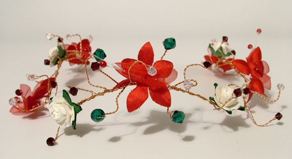 Christmas or winter wedding bridal hair vine with Scarlet red silk and feather flowers, plus garnet and green Swarovski crystals on gold wire