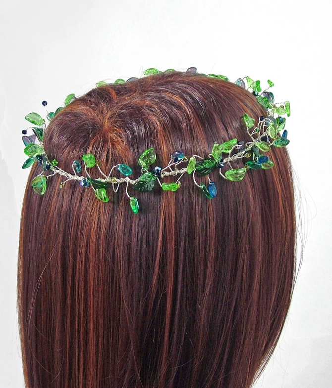 Green leaf silver crown for woodland and Forest Weddings
