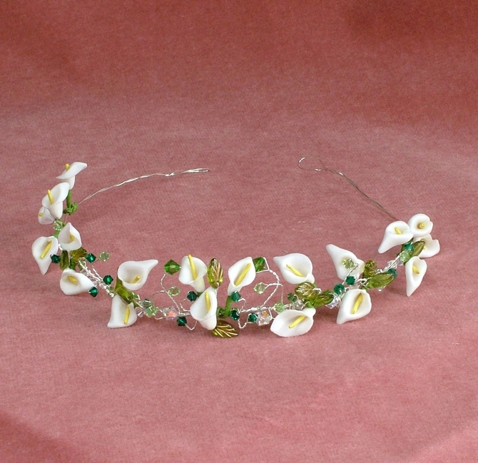 Tiara with lilies and green Swarovski crystals