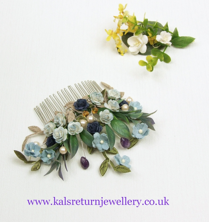 Blue flower bridal hair comb with pearls and Amethyst