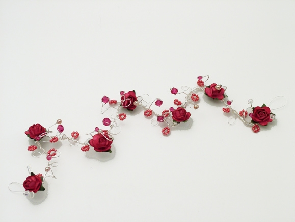 Hair vine with cerise roses and swarovski crystals