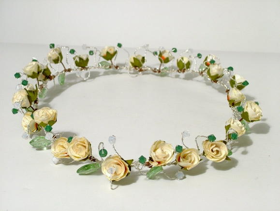 Woodland, Rustic wedding headband, circlet with cream rose, green leaves plus Palace Green and white Opal Swarovski crystals