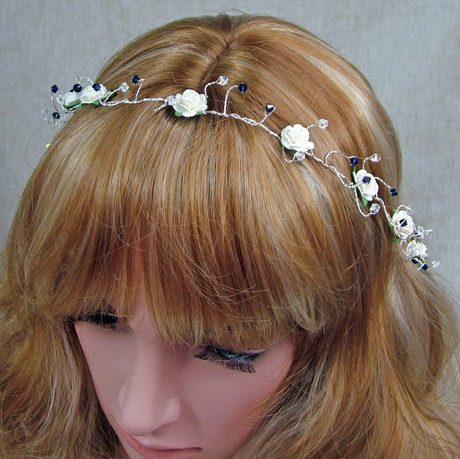 Ivory rose hair vine on silver wire with Indigo Blue Swarovski crystals