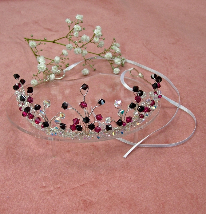 Swarovski wedding tiara with Garnet and Ruby crystals