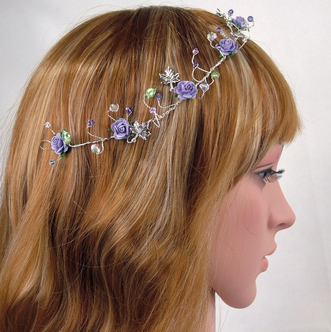 Licac hair vine with lavender lilac crystals and silver leaves