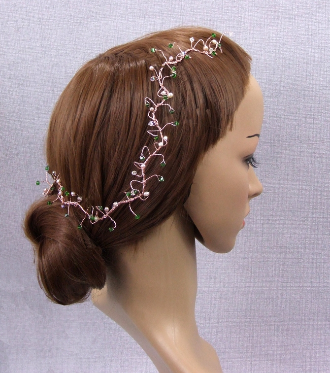 Fern green crystal hair vine on rose gold wire