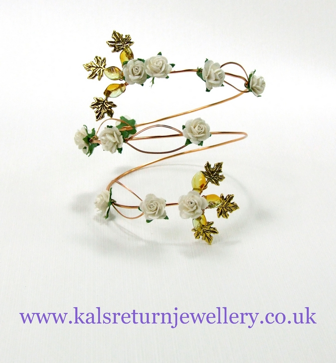 Gold wire wrap arm cuff, ivory flowers and leaves. Boho style.