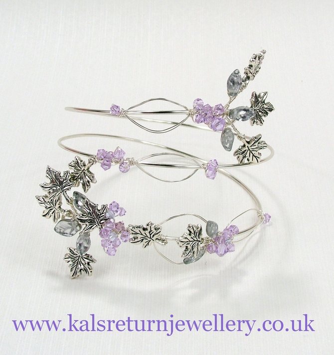 Crystal upper arm cuff, lilac and silver. All colours available