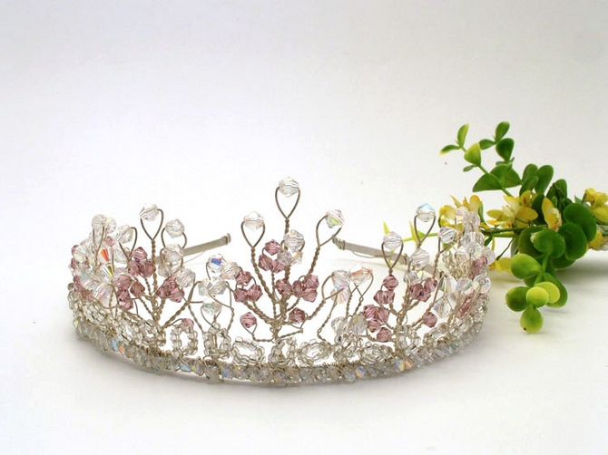 Handmade silver wedding tiara with Swarovski crystals