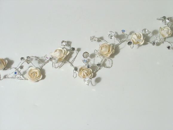 Winter wedding ivory rose wedding hair vine on silver wire with freshwater pearls and Swarovski crystals