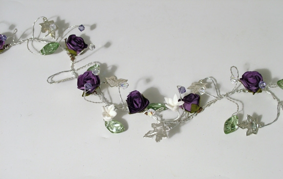 Woodland wedding hair vine with purple and white flowers, silver ivy, green leaves and tanzanite crystals