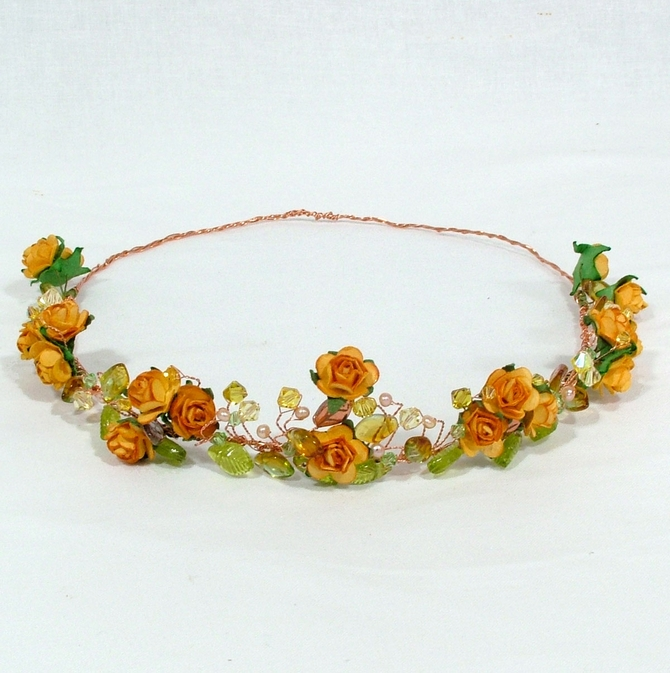 orange rose headband with leaves