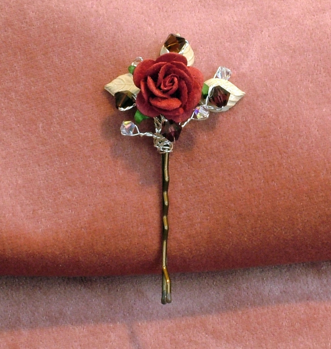 Red rose bridal hair grip with ivory enamelled leaves and burgundy Swarovski crystals