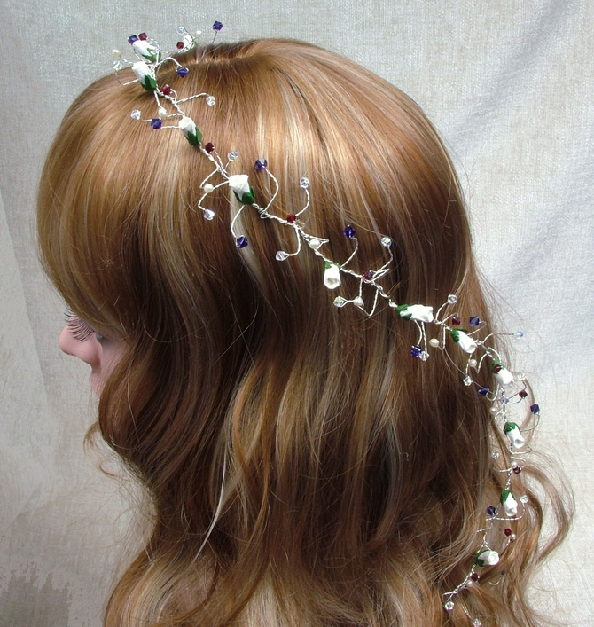 Long hair vine with ivory rose buds, purple, red and sparkly Swarovski crystals on silver wire