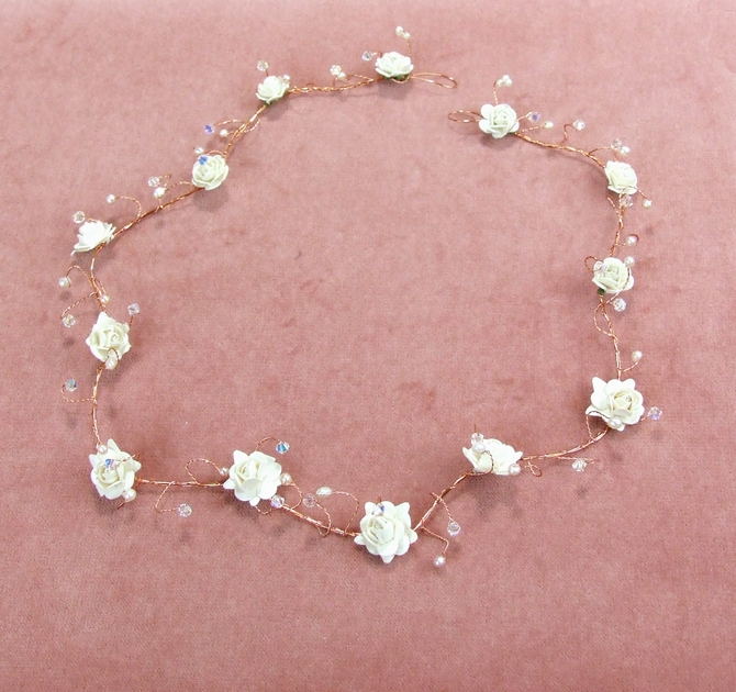Long bridal vine, gold wire with ivory roses, pearls and crystals