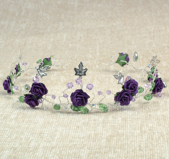 Purple rose hair vine with silver ivy, tanzanite crystals plus silver green leaves