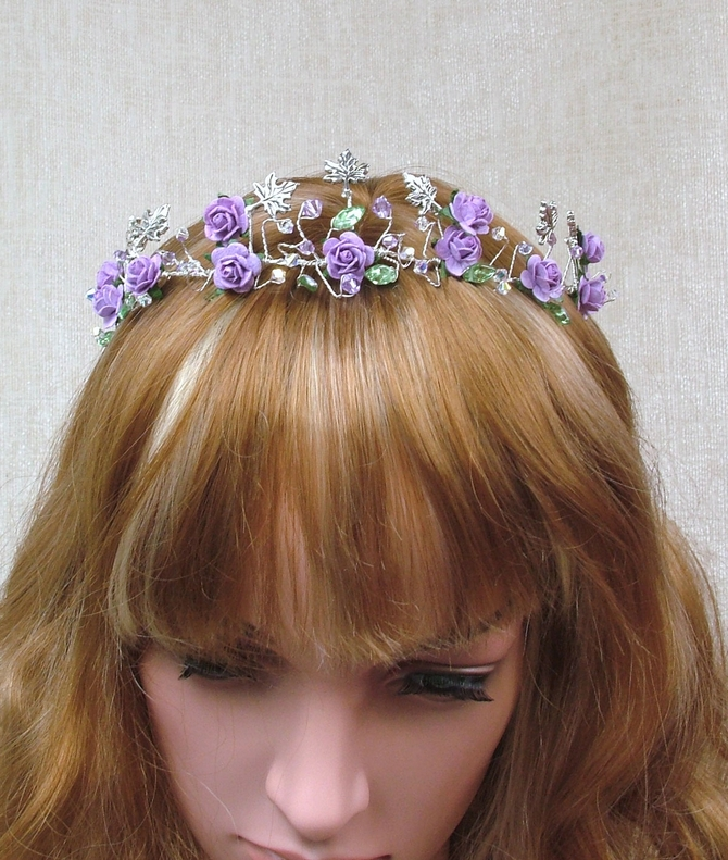 Lilac rose tiara with violet lilac Swarovski crystals and silver leaves