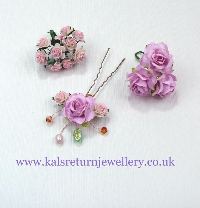 Pink flower crown, Rustic Wedding style, pink roses and Topaz Swarovski crystals