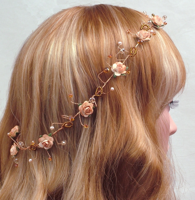 Peach rose Vintage wedding bridal hair vine with gold and topaz
