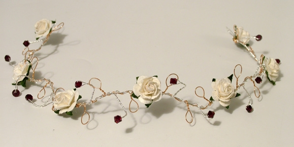 Garnet and ivory hair vine with silver and gold wire