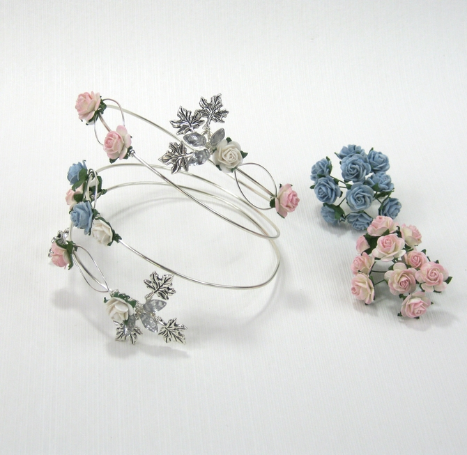 Arm jewellery, Boho wedding cuff in blush pink and blue. Ideal bridesmaid gift