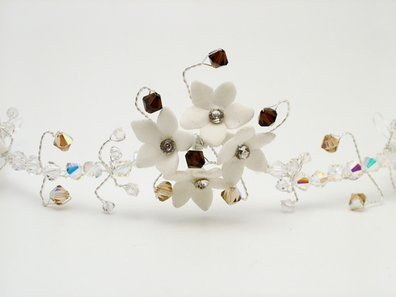 White diamante flower bridal hair vine with sparkly and mocha coloured Swarovski crystals