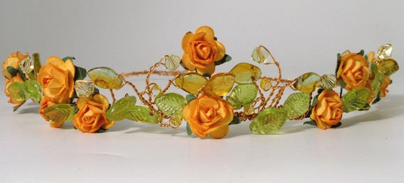 Medieval, woodland wedding headband, circlet with orange roses and yellow and green leaves