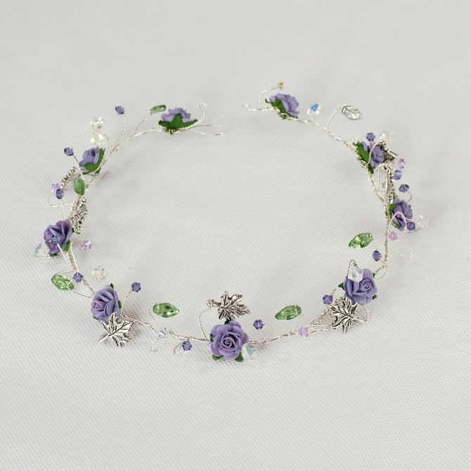 Silver leaf bridal hair vine with lilac roses