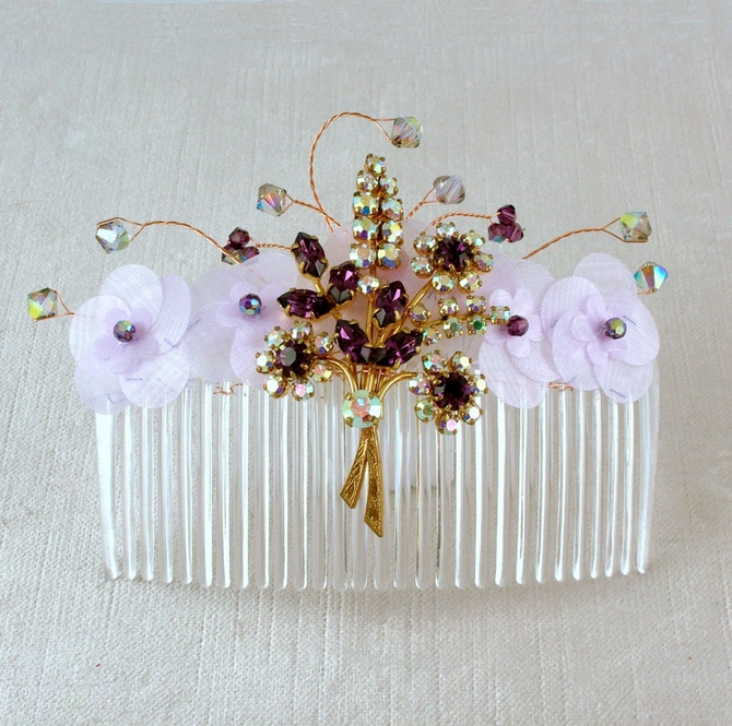 Bride's Vintage brooch wedding hair comb with gold amethyst flower brooch, lilac organza flowers, amethyst, black diamond Swarovski crystals
