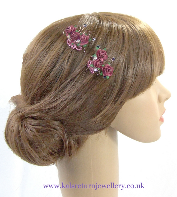 Pink rose hair grips with Swarovski crystals