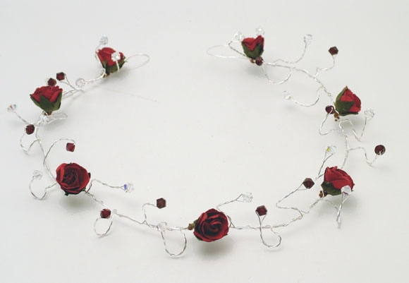 Red rose hair vine with garnet Swarovski crystals