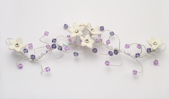 Silver hair vine with diamante flowers and Lilac / purple Swarovski crystals