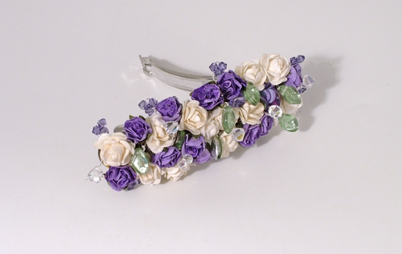 Lilac and ivory rose wedding / prom hair barrette