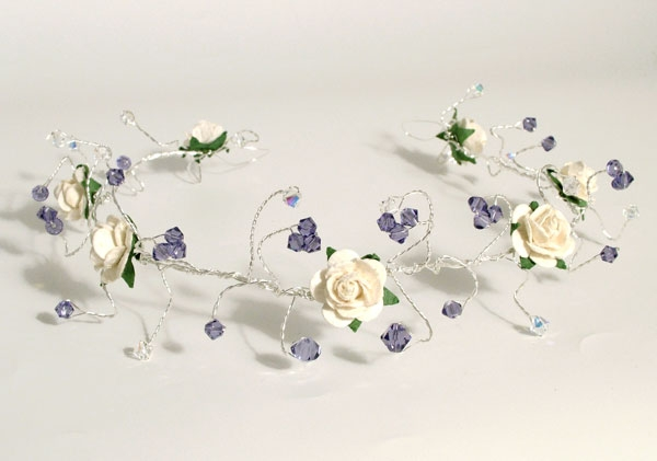 ivory rose hair vine with clusters of tanzanite Swarovski crystals