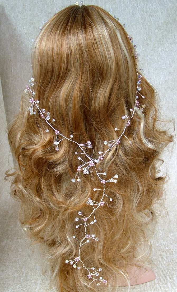Long silver hair vine with Swarovski crystals and powder rose pearls