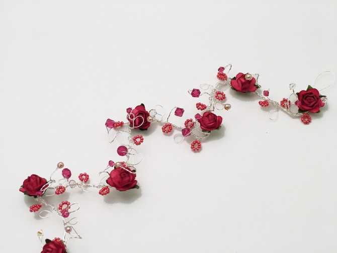 Prom, bridesmaid's hair vine with cerise pink roses and pink Swarovski crystals