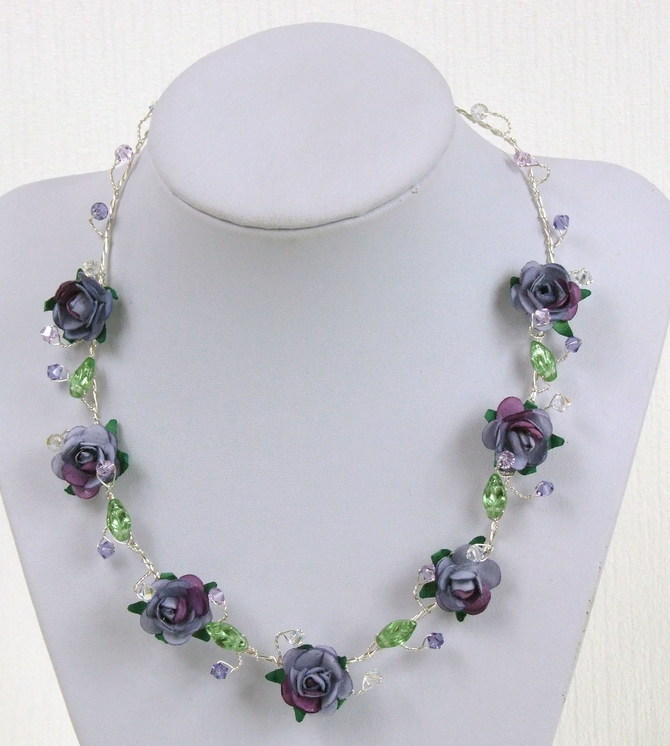 Statement bridal necklace in lilac and purple