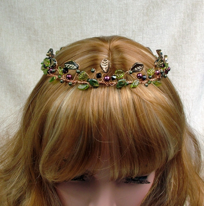Woodland, Forest, Handfasting Circlet with green leaves, red pearls, garnet Swarovski crystals on gold wire