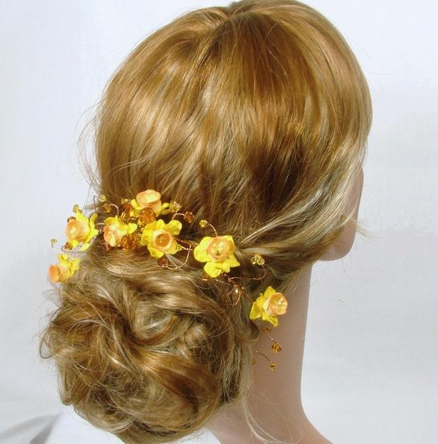 Yellow Daffodil flower hair vine with topaz Swarovski crystals on gold wire