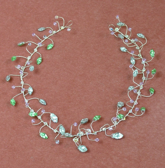Silver leaf hair vine with lilac Swarovski crystals