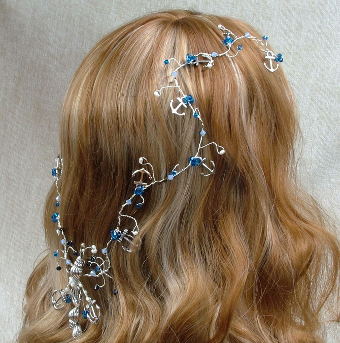 Nautical themed hair vine