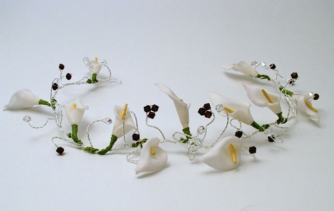 Winter wedding hair vine with cream Cala lilies and garnet crystals