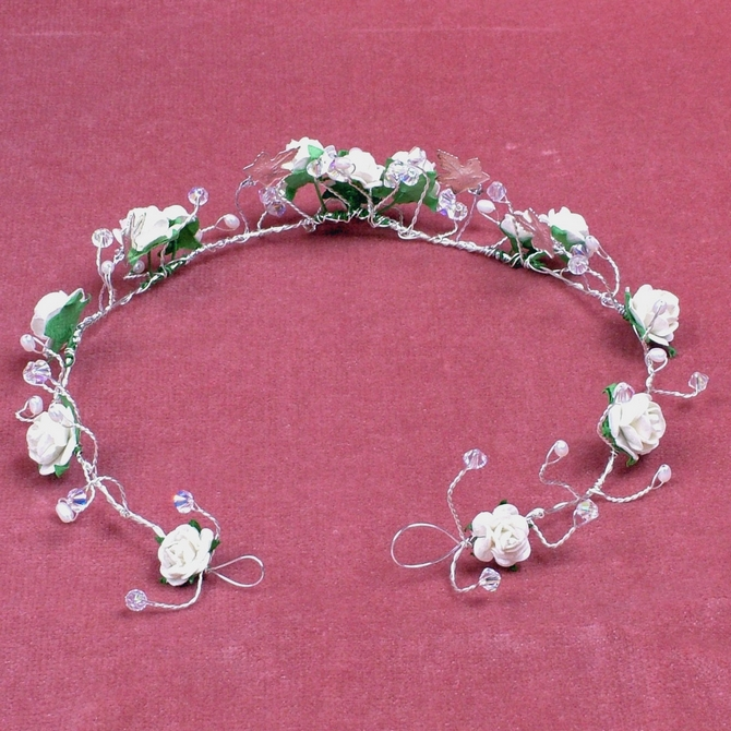 White flower winter wedding tiara with silver leaves and pearls