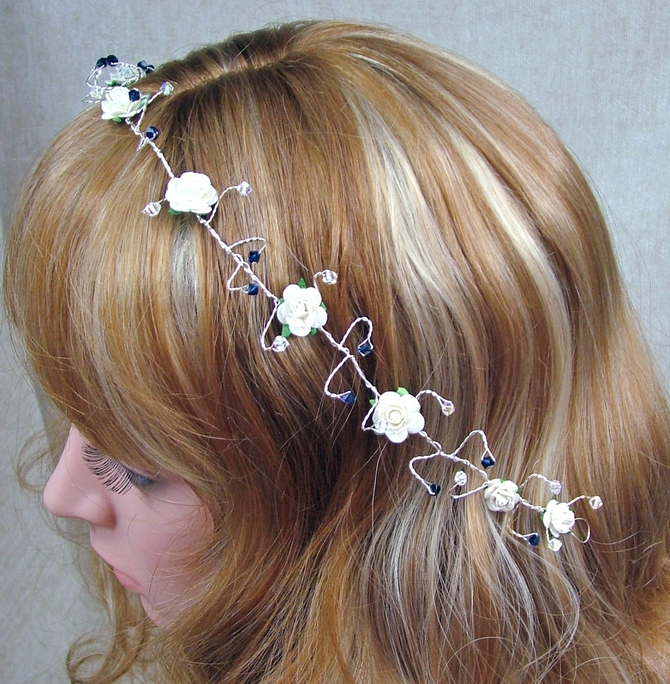 Ivory rose hair vine with indego blue Swarovski crystals