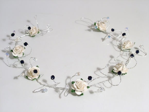 Handmade bride or bridesmaid's ivory rose hair vine with dark indigo Swarovski crystals