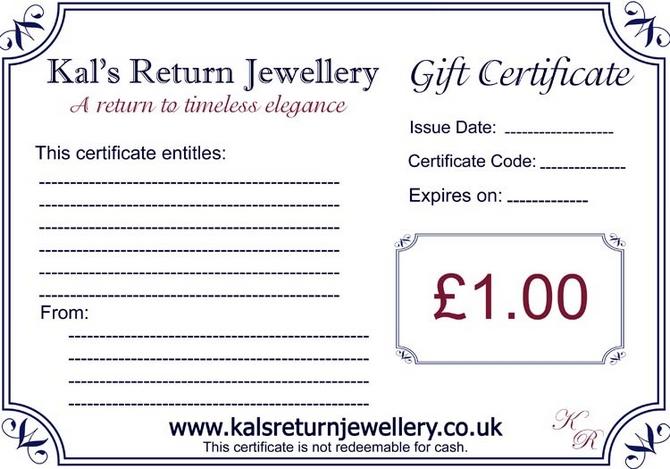 Jewellery Gift Voucher GBP1.00