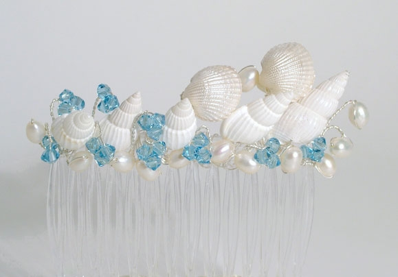 Beach themed wedding, prom sea shell hair slide, comb