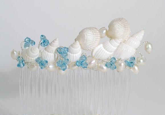 Beach themed wedding, prom sea shell hair slide, comb