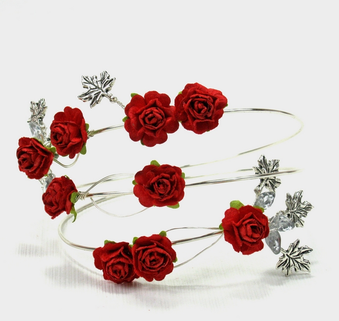 Silver leaf upper arm bracelet with red roses. Boho wedding