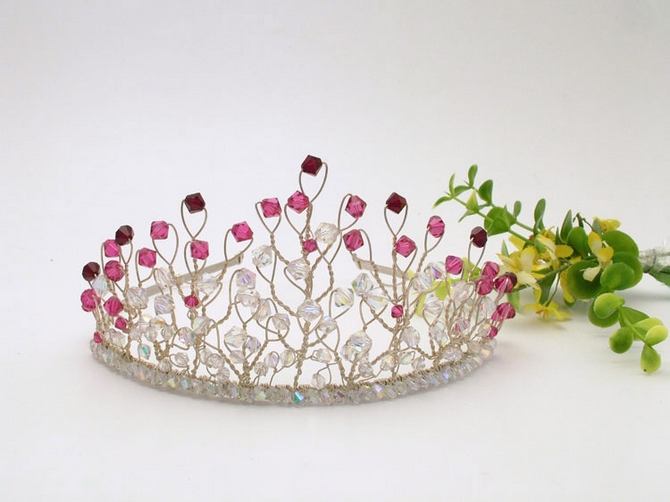 Handmade bridal tiara with garnet,cerise pink and sparkly Swarovski crystals